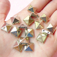 Rivet / SILVER Pyramid Rivet Studs Flatback Square Rivet w/ Hole 10mm (20pcs) Spikes Beads Charms Sewing Pendants Bracelet RT37