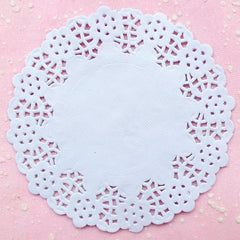 "White Cake Lace Doilies in Paper (114mm / 4.5"") (20pcs) - Scrapbooking Gift Wrap Packaging Supplies Flower Lace Decoration Party Decor S100"