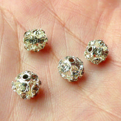 CLEARANCE Clear Rhinestones Beads / Round Rhinestones Cabochon with Hole (4 pcs) (6mm) RHE062
