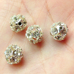 Clear Rhinestones Beads / Round Rhinestones Cabochon with Hole (4 pcs) (8mm) RHE063