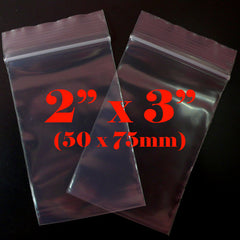Clear Plastic Bags (100 pcs) Zipper Lock Bags Ziploc Bags Resealable Bags for Product Packaging Packing (2 x 3 inch / 50mm x 75mm) GB2X3