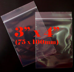 Clear Plastic Bags (100 pcs) Zipper Lock Bags Ziploc Bags Resealable Bags Product Packaging Packing (3 x 4 inch / 75mm x 100mm) GB3X4