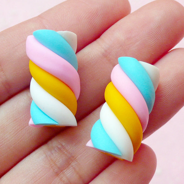 Fake Sweets Deco / Rainbow Marshmallow Cabochons / Kawaii Fimo Candy Cabochon (2pcs / 11mm x 20mm) Polymer Clay Decoden Whimsical Novelty FCAB079