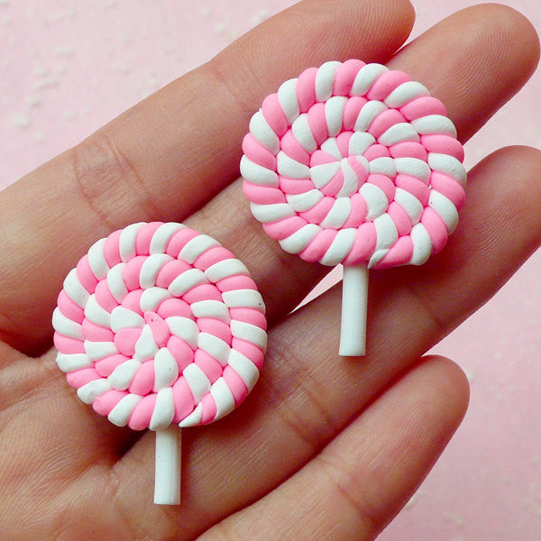 Decoden Lollipop Cabochons / Fimo Sweets Deco Cabochon (2pcs / 26mm x 35mm / Pink) Kawaii Phone Case Sweet Lolita Polymer Clay Food FCAB081
