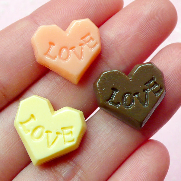 CLEARANCE Heart Chocolate Cabochon w/ Love (3pcs / 16mm x 15mm / Flatback) Kawaii Miniature Sweets Decoden Phone Case Fake Candy Embellishment FCAB084