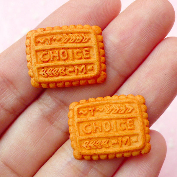 Sweets Deco Cabochon / Rectangular Choice Cookie Cabochons (2pcs / 20mm x 16mm) Miniature Biscuit Dollhouse Food Kawaii Decoden FCAB090