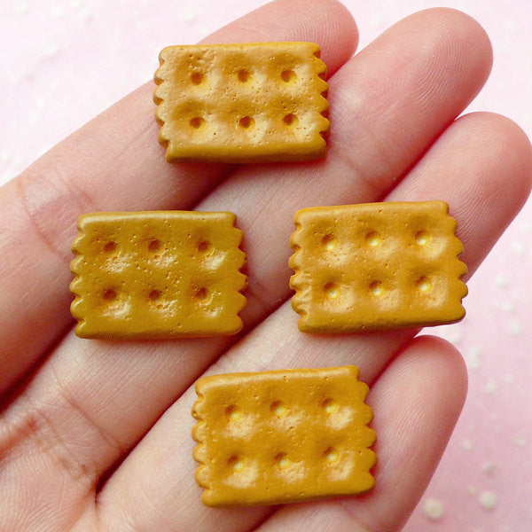 Decoden Biscuit Cabochons / Mini Rectangular Biscuit (4pcs / 14mm x 19mm) Kawaii Miniature Dollhouse Craft Supplies Sweets Deco FCAB091