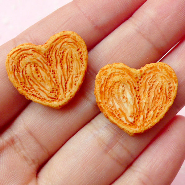 Decoden Pieces / Dollhouse Palmier Cabochons / Miniature Cookie Cabochon (2pcs / 21mm x 18mm) Fake Food Jewelry Kawaii Sweets Deco FCAB092