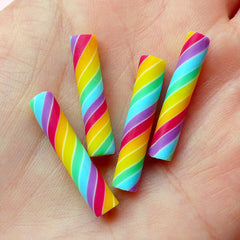 Rainbow Candy Cane / Fimo Candy Toppings / Fake Rainbow Twists (4pcs / 5mm x 25mm) Kawaii Polymer Clay Decoden Miniature Sweets Deco FCAB051