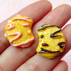 Kawaii Cabochon / Bitten Cookie Cabochon / Mini Biscuit Cabochon (2pcs / 19mm x 22mm) Kawaii Cell Phone Deco Whimsical Embellishment FCAB088