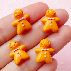Gingerbread Man Cookie Cabochons (4pcs / 13mm x 16mm) Kawaii Decoden Supplies Miniature Dollhouse Sweets Christmas Embellishment FCAB093