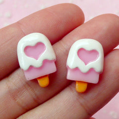 Strawberry Popsicle Cabochon / Miniature Ice Cream Bar with Heart (2pcs / 12mm x 18mm) Kawaii Cell Phone Deco Fake Sweets Jewelry FCAB098