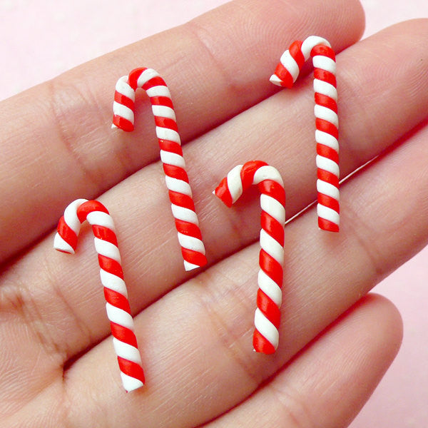 Dollhouse Peppermint Sticks / Christmas Candy Stick Cabochon (4pcs / 8mm x 24mm) Kawaii Fimo Food Decoden Christmas Embellishment FCAB100