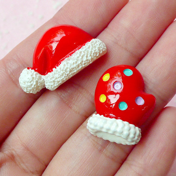 Christmas Hat and Glove Cabochon (2pcs) Christmas Cabochon Scrapbooking Decoden Kawaii Christmas Cell Phone Deco CAB237