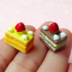 Miniature Cake Cabochon / Dollhouse Sweets Cabochons (2pcs / 9mm x 14mm / Mango & Chocolate) Doll Food Dessert Jewelry Kawaii Deco FCAB108