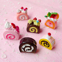 Kawaii Cabochon Miniature Swiss Roll Cake Cabochon Set (6pcs / Assorted Colorful Mix / 3D) Cute Dollhouse Sweets Decoden Phone Case FCAB109