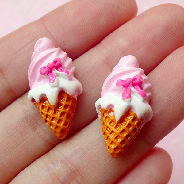 Miniature Sweets Cabochon / Strawberry Ice Cream Cabochon (2pcs / 12mm x 23mm / Pink / Flatback) Fake Food Jewelry Decoden Craft FCAB096