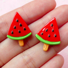 Watermelon Popsicle Cabochon / Fruit Ice Cream Bar (2pcs / 17mm x 23mm / Flat Back) Fake Sweets Deco Kawaii Phone Case Decoration FCAB099