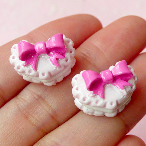 Decoden Cabochon / Heart Biscuit Cabochon with Ribbon (2pcs / 16mm x 11mm / Pink) Miniature Sweets Kawaii Decora Fairy Kei Jewellery FCAB103
