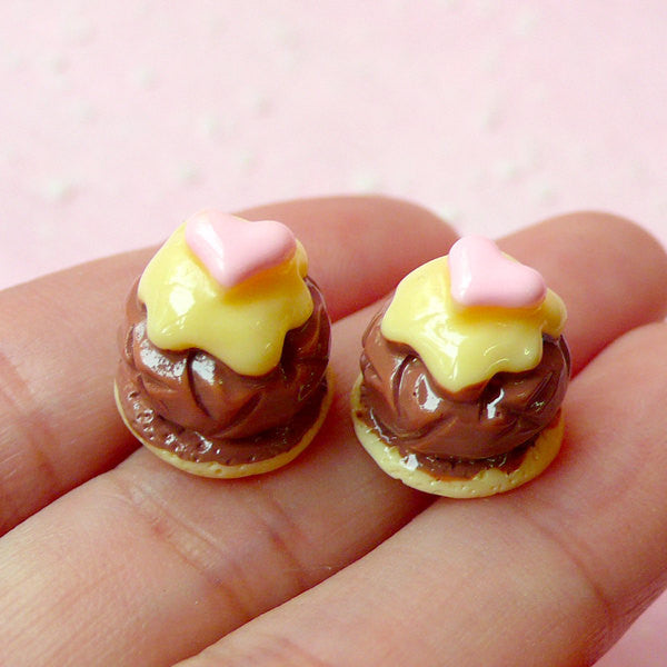 Miniature Sweets Deco Cabochon (2pcs / 13mm / 3D) Doll Food Dollhouse Food Decoden Supplies Kawaii Dessert Cell Phone Case Decoraton FCAB105