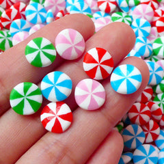 Peppermint Candy Cabochon Polymer Clay Cabochon Mix (8pcs / 9mm) Kawaii Sweets Whimsical Earrings Making Decora Kei Phone Case Deco FCAB110