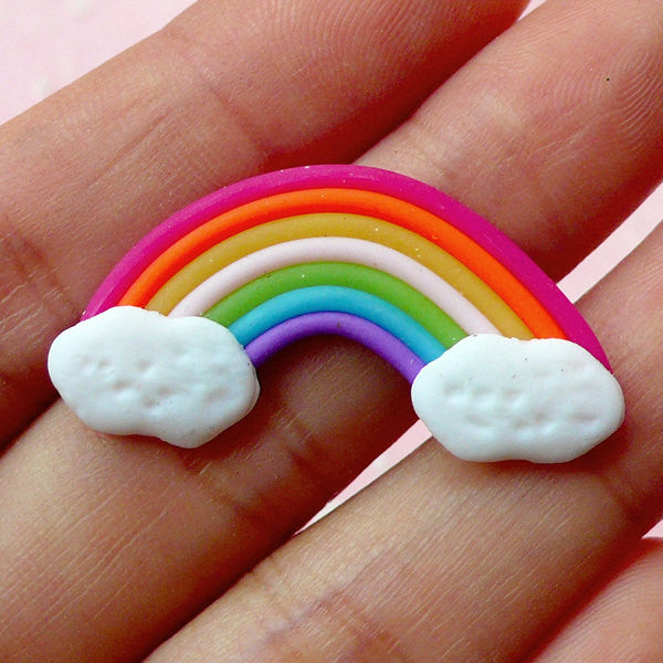 Rainbow Cabochon w/ Cloud (1pc) 28mm x 17mm Kawaii Polymer Clay Cabochon Colorful Cell phone Deco Decoden Scrapbooking CAB238