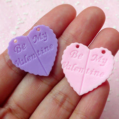 Be My Valentine Heart Cabochon / Charms (4 pcs / 24mm) Kawaii Love Cabochon Cell phone Deco Decoden Scrapbooking CAB241