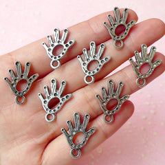 Hand Charms (8pcs) (17mm x 21mm / Tibetan Silver) Metal Findings Pendant Bracelet Earrings Zipper Pulls Keychains CHM094