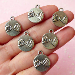 Pinky Promise Charms (6pcs) (14mm x 18mm / Tibetan Silver / 2 Sided) Metal Findings Pendant Bracelet Earrings Zipper Pulls Keychains CHM095