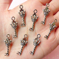 3D Crown Key Charms (8pcs) (9mm x 25mm / Tibetan Silver / 2 Sided) Metal Findings Pendant Bracelet Earrings Zipper Pulls Keychains CHM107