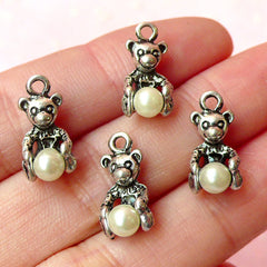 CLEARANCE Bear Charms w/ Pearl (4pcs) (8mm x 16mm / Tibetan Silver) Metal Findings Pendant Bracelet Earrings Zipper Pulls Keychain CHM123
