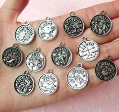 Zodiac Charms Horoscope Charms (12pcs) (17mm x 20mm / Tibetan Silver / 2 Sided) Pendant Bracelet Earrings Zipper Pulls Keychain CHM137