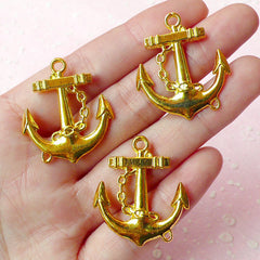 Anchor Charms Nautical Charms (3pcs) (27mm x 31mm / Gold Plated / 2 Sided) Pendant Bracelet Earrings Zipper Pulls Bookmarks Keychains CHM150