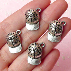 3D Baseball Cap Charms (4pcs) (13mm x 18mm / Tibetan Silver) Metal Findings Pendant Bracelet Earrings Zipper Pulls Keychains CHM156
