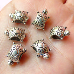 Turtle Beads (6 pcs) (9mm x 14mm / Tibetan Silver / 2 Sided) Metal Animal Beads Finding Pendant Bracelet Earrings Bookmark Keychains CHM160