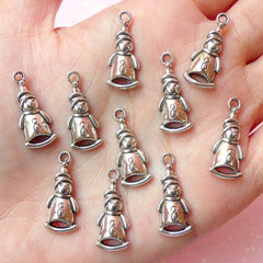 Snowman Charms (10pcs) (9mm x 22mm / Tibetan Silver) Christmas Metal Findings Pendant Bracelet Earrings Bookmark Keychains CHM170