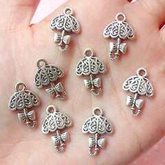 Lolita Umbrella Charms (8pcs) (13mm x 19mm / Tibetan Silver / 2 Sided) Metal Finding Pendant Bracelet Earrings Bookmark Keychains CHM167
