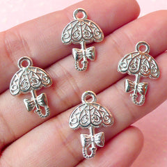 Lolita Umbrella Charms (4pcs) (13mm x 19mm / Silver / 2 Sided) Metal Finding Pendant Bracelet Earrings Bookmark Keychains CHM197