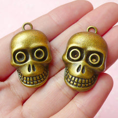 Skull Charms Skeleton Charm (2pcs) (20mm x 32mm / Antique Bronze) Pendant Bracelet Earrings Zipper Pulls Bookmarks Key Chains CHM175