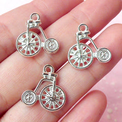 Bicycle Charms (3pcs) (16mm x 17mm / Silver / 2 Sided) Metal Findings Pendant Bracelet Earrings Zipper Pulls Bookmarks Key Chains CHM206