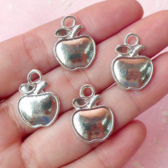 Apple Charms (4pcs) (15mm x 20mm / Silver) Fruit Charms Metal Findings Pendant Bracelet Earrings Zipper Pulls Bookmarks Keychains CHM215