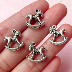 CLEARANCE 3D Rocking Horse Charms (4pcs) (14mm x 15mm / Tibetan Silver / 2 Sided) Pendant Bracelet Earrings Zipper Pulls Bookmark Keychains CHM246