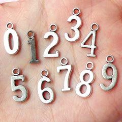Number Charms 0 to 9 Charm (10pcs) (15mm / Tibetan Silver) Metal Findings Pendant Bracelet Earrings Zipper Pulls Bookmark Keychains CHM249