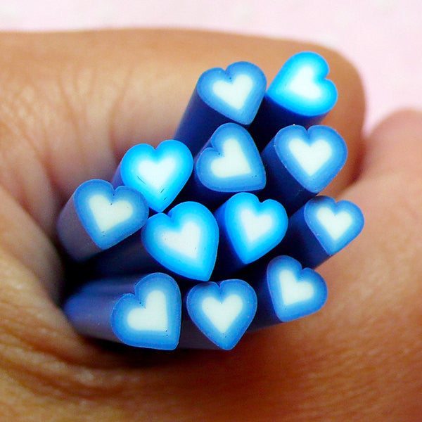 Blue Heart Polymer Clay Cane Nail Deco Heart Shape Fimo Cane (Cane or Slices) Scrapbook Heart Decor Kawaii Resin Craft Card Decoration CH20