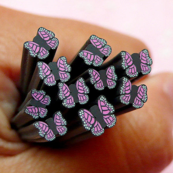 Black & Purple Butterfly Polymer Clay Cane Insect Fimo Cane Nail Art Nail Decoration Earring Making Scrapbooking Miniature Sweets Deco CBT46