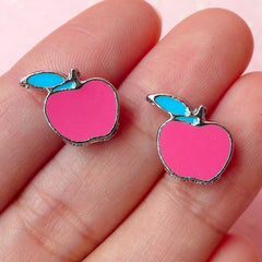 Apple Beads / Charms (2pcs) (13mm x 12mm / Pink & Blue) Kawaii Fruit Beads Pendant Bracelet Earrings Zipper Pulls Bookmark Keychains CHM253