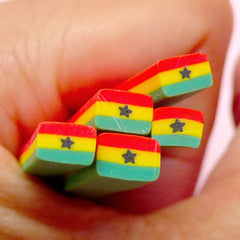 Ghana Flag Polymer Clay Cane Ghanaian Flag Fimo Cane World Flag Cane African Cane (Cane or Slices) Nail Deco Scrapbook Embellishment CE060