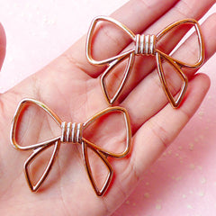 Acrylic Ribbon Cabochon / Big Bowknot Charm / Kawaii Ribbon Bead (2pcs / 52mm x 39mm / Gold) Large Bow Decoration Cute Jewelry Making CAB243