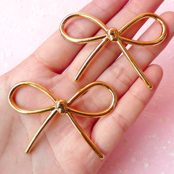 Big Bowknot Cabochon / Acrylic Ribbon Charm Connector (2pcs / 54mm x 38mm / Gold) Cute Bow Embellishment Kawaii Jewellery Making CAB245