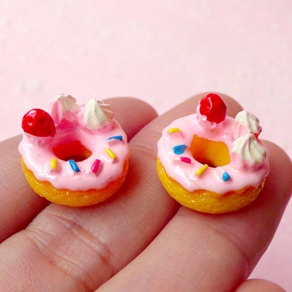 Kawaii Cabochon Strawberry Donut Cabochons Dollhouse Doughnut Cabochon (2pcs / 15mm) Miniature Sweets Pastel Fairy Kei Decoden Piece FCAB112